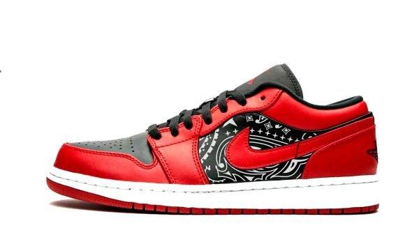 Black Bandana Custom Nike AJ1 Shoes Reverse Bred Low Sides by BandanaFever.com