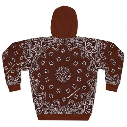 Brown Bandana Custom Hoodie Pullover Brown Back by BandanaFever.com