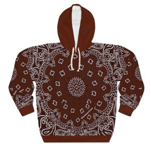 Brown Bandana Custom Hoodie Pullover Brown by BandanaFever.com