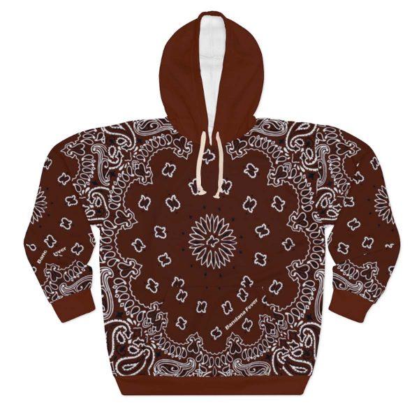 Brown Bandana Custom Hoodie Pullover Brown by BandanaFever.com
