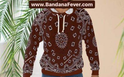 Brown Bandana Custom Hoodie Pullover Brown Model at BandanaFever.com