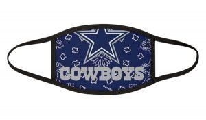 Dallas Cowboys Blue Bandana Custom Face Mask Black by BandanaFever.com