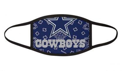 Dallas Cowboys Blue Bandana Custom Face Mask Black by BandanaFever.com