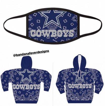 Dallas Cowboys Blue Bandana Custom Face Mask Hoodie at BandanaFever.com