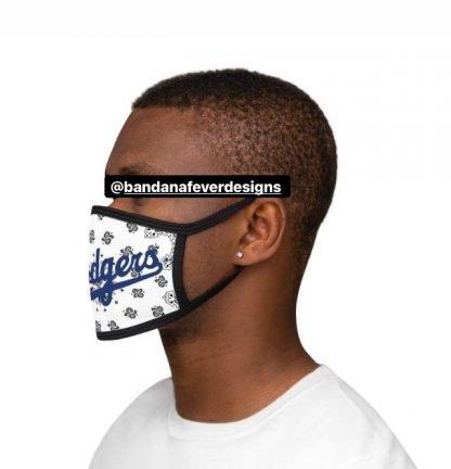 LA Dodgers White Bandana Custom Face Mask Black Model at BandanaFever.com