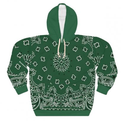 Green Bandana Custom Hoodie Pullover Green by BandanaFever.com