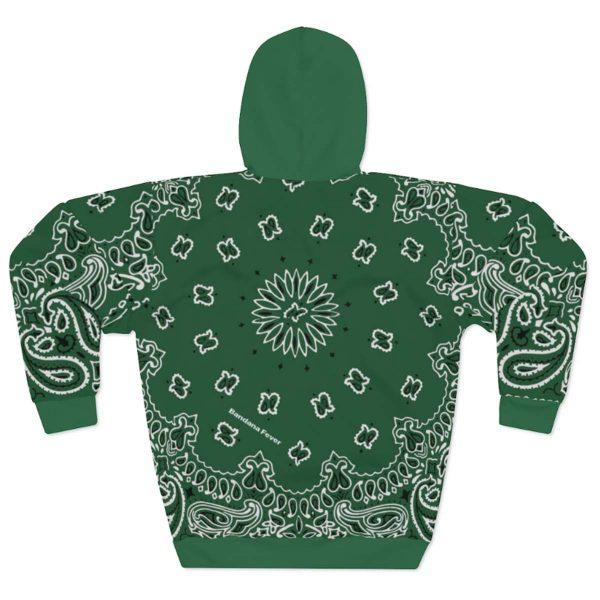 Green Bandana Custom Hoodie Pullover Green Back by BandanaFever.com