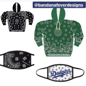 Green Black Bandana Hoodie Face Masks at Bandana Fever