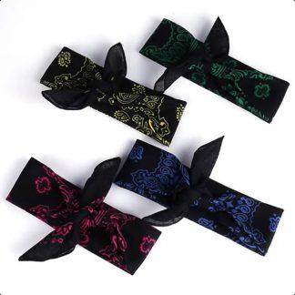 Green, Pink, Blue, Yellow Bandana Scarves Black – 4 Styles by BandanaFever.com