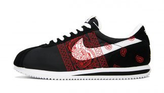Red Bandana Teardrops Custom Nike Cortez Shoes NBW Sides by BandanaFever.com