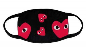 Red CDG Play Custom Face Mask Black by BandanaFever.com