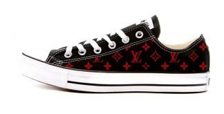 Red Supreme LV Custom Converse Shoes Black Low by BandanaFever.com