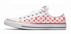 Red Supreme LV Custom Converse Shoes White Low by BandanaFever.com