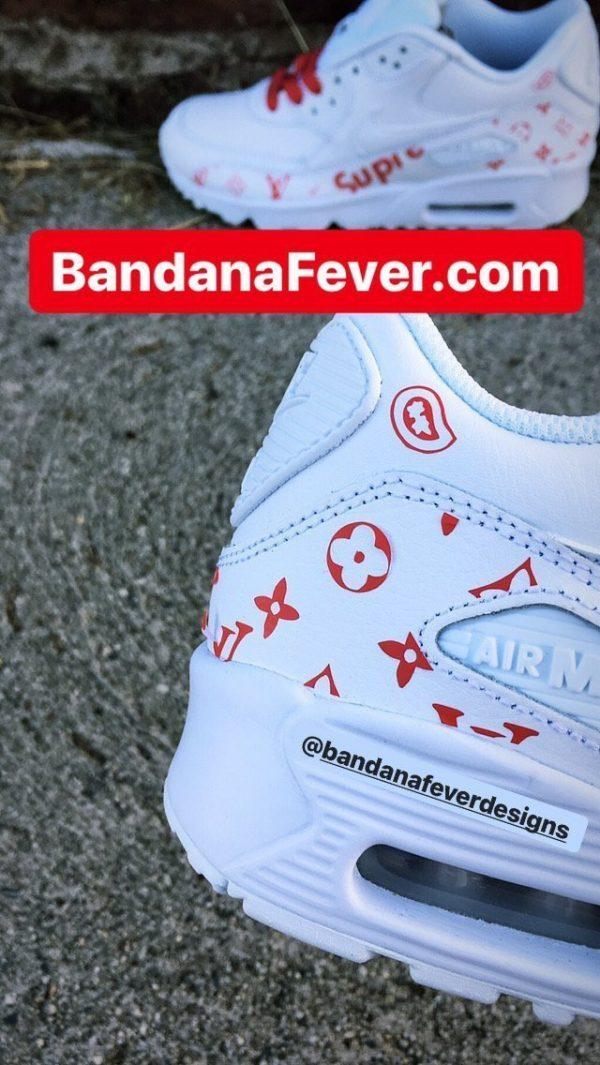Red Supreme Louis Custom Nike Air Max Shoes White Close at BandanaFever.com