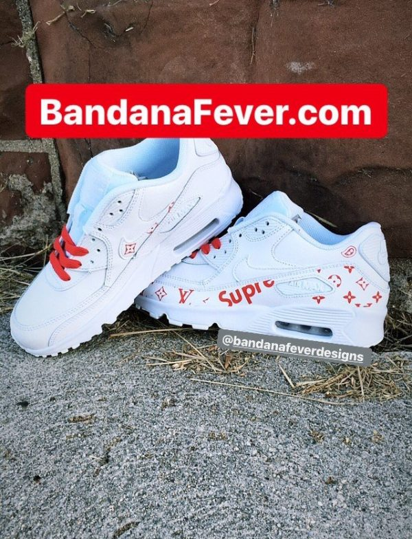 Red Supreme LV Custom Nike Air Max Shoes White Sides by BandanaFever.com