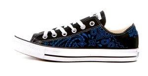 Royal Blue Bandana Custom Converse Shoes Black Low by BandanaFever.com