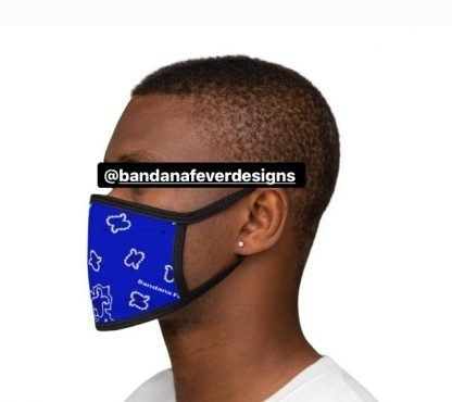 Royal Blue Bandana Custom Face Mask Black Model at BandanaFever.com