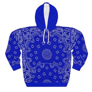 Royal Blue Bandana Custom Hoodie Pullover Blue by BandanaFever.com