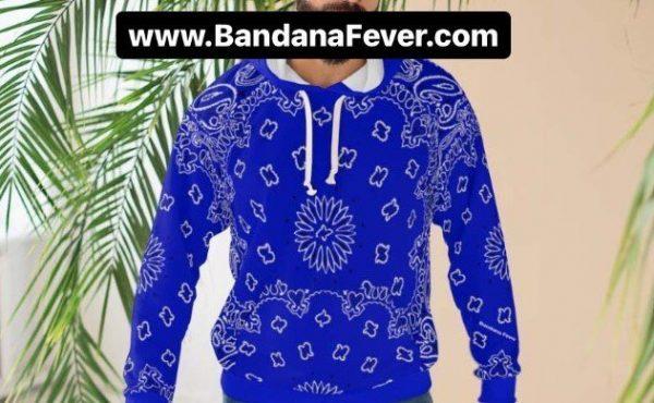 Royal Blue Bandana Custom Hoodie Pullover Blue Model at BandanaFever.com