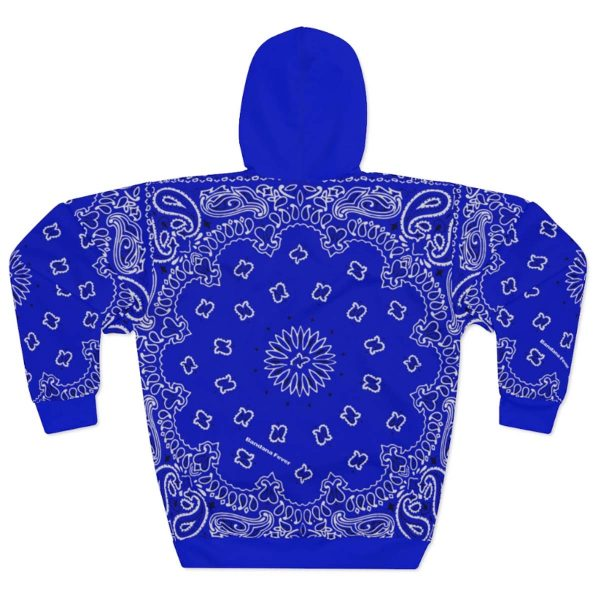 Royal Blue Bandana Custom Hoodie Pullover Blue Back by BandanaFever.com