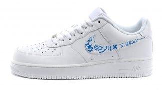 Royal Blue Bandana Custom Nike Air Force 1 Shoes White Low Swoosh by BandanaFever.com