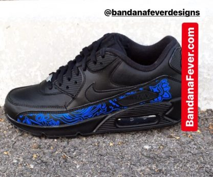 Royal Blue Bandana Custom Nike Air Max Shoes Black Main at BandanaFever.com