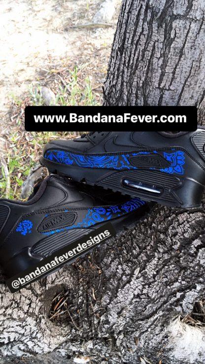 Royal Blue Bandana Custom Nike Air Max Shoes Black Stacked at BandanaFever.com