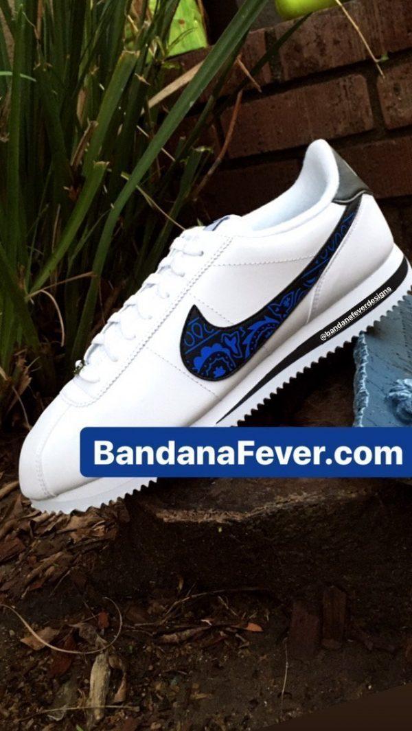 Royal Blue Bandana Custom Nike Cortez Shoes LWB Swoosh Main at BandanaFever.com