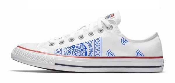 Royal Blue Bandana Teardrops Custom Converse Shoes White Low by BandanaFever.com