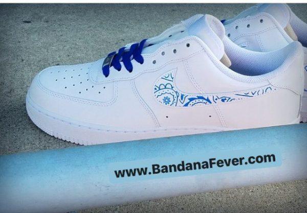 Royal Blue Bandana Custom Nike Air Force 1 Shoes White Low Swoosh Main at BandanaFever.com