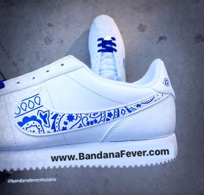 Royal Blue Bandana Custom Nike Cortez Shoes LWG Swoosh
