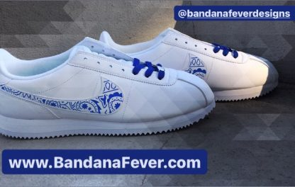 Royal Blue Bandana Custom Nike Cortez Shoes LWG Swoosh Sides at BandanaFever.com