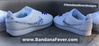 Royal Blue Purple Bandana Custom Nike Cortez Shoes LWG Swoosh Sides at BandanaFever.com