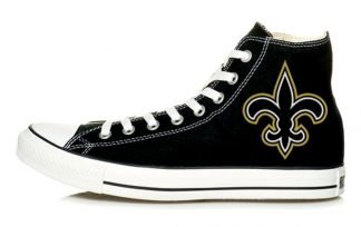 NOLA Saints Big Custom Converse Shoes Black High by BandanaFever.com