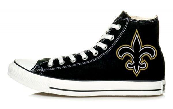NOLA Saints Big Custom Converse Shoes Black High by BandanaFever.com