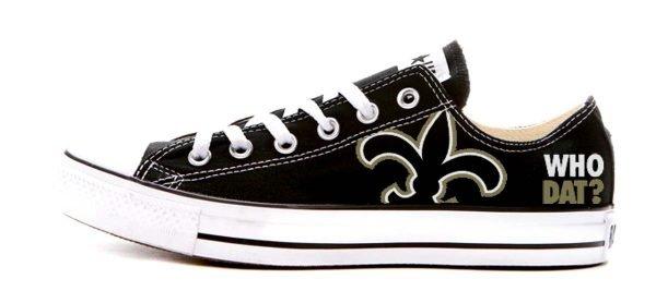 NOLA Saints Custom Converse Shoes Black Low by BandanaFever.com