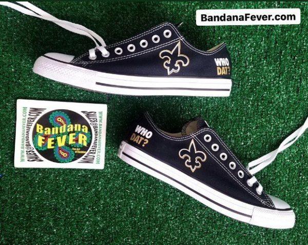 NOLA Saints Custom Converse Shoes Black Low Stagger by BandanaFever.com