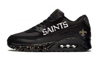 NOLA Saints Gold Splat Custom Nike Air Max Shoes Black by BandanaFever.com