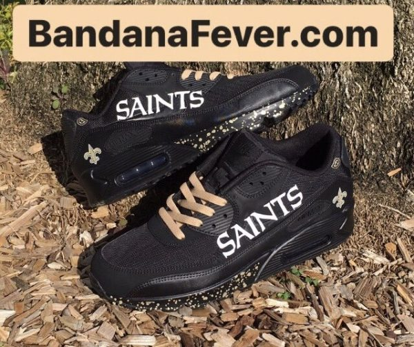 NOLA Saints Gold Splat Custom Nike Air Max Shoes Black Stacked at BandanaFever.com