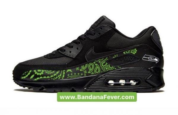 Bandana Fever Seattle Seahawks Green Bandana Custom Nike Air Max Shoes Black at BandanaFever.com