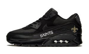 NOLA Saints White Custom Nike Air Max Shoes Black by BandanaFever.com