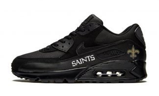 NOLA Saints White Custom Nike Air Max Shoes Black by BandanaFever.com
