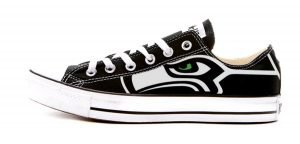 Seattle Seahawks Custom Converse Shoes Black Low by BandanaFever.com