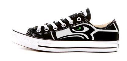 Seattle Seahawks Custom Converse Shoes Black Low by BandanaFever.com