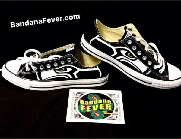 Seattle Seahawks Custom Converse Shoes Black Low Stacked at BandanaFever.com