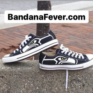 Seattle Seahawks Custom Converse Shoes Black Low Stagger at BandanaFever.com