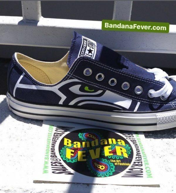 Seattle Seahawks Custom Converse Shoes Navy Low Close at BandanaFever.com