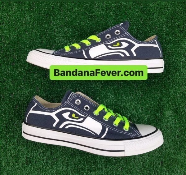 Seattle Seahawks Custom Converse Shoes Navy Low Pair at BandanaFever.com