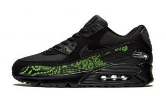 Seattle Seahawks Green Bandana Custom Nike Air Max Shoes Black by BandanaFever.com