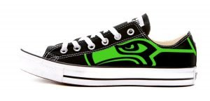 Seattle Seahawks Lime Custom Converse Shoes Black Low by BandanaFever.com